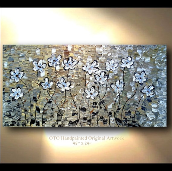 ORIGINAL White Flower Painting Abstract Landscape Artwork Flowerscape Heavy Textured 48x24 Modern Contemporary art by OTO