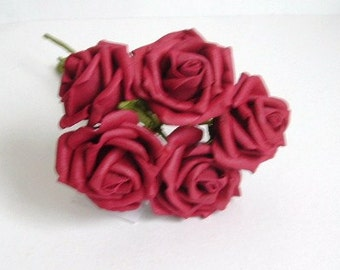 Bunch of 5 Half Open Foam Roses - Burgundy