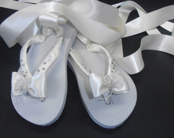 Flower Girl Flip Flops With Satin Ballet Ties Chrystal and Bow Details