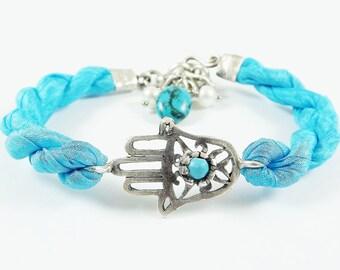 Turquoise Hamsa - Hand of Fatima Silk Bracelet - Turquoise stone