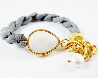 White Jade Bracelet & Titanium Grey  Silk Turkish - Teardrop Gold Plated - Fall Fashion