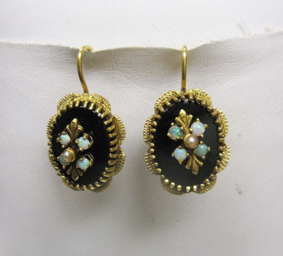 Vintage 14k Earrings with Black Onyx, Pearl, and Opal