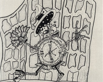 Limited edition Mechanical Clock Man  print. 8 x 10 on silver metallic paper, steampunk doodle