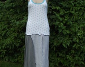50% off sale Rrecycled Tshirt Dress tank top Small Medium Blue Gray Summer Boho Upcycled Clothing tshirt Gypsy Asymmetrical Handmade Women