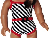 American Girl Clothes - Red, Black & White Stripe Bathing Suit - White Platform Sandals