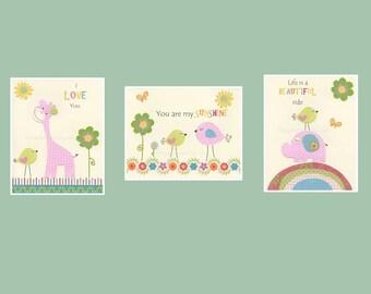 Nursery decor, kids art decor, nursery wall art // Birds, giraffe, elephant // Pink green blue // my sunshine // Set of 3 8x10