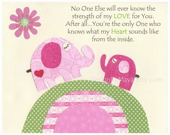 Baby girl nursery, Kids room Print, kids wall art decor, Nursery wall Art Decor, elephant...No One...the strength of my LOVE For You..