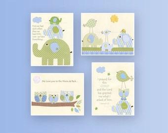 Baby boy Room, wall art Decor, Children Art print, elephant, set of 4 8x10, match to the colors of Eli elephant bedding set, baby room deco