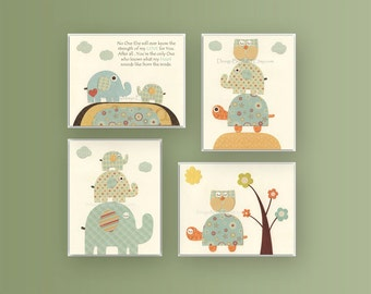Nursery wall art print, Baby boy room, baby elephant, set of 4 8x10, Orange,Tan, Pale blue Vintage style...turtle, owl, mustard, aqua