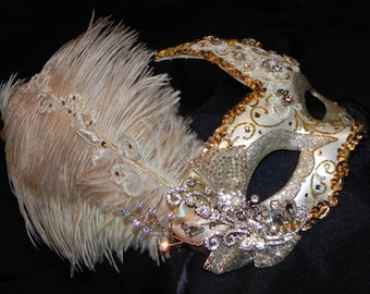 Luna Lace Mask in Shades of Gold and Ivory