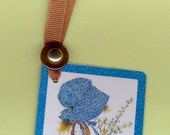HOLLY HOBBIE in Blue Handmade Bookmark from Vintage Playing Card & Button with Grosgrain Ribbon