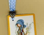 Handmade Bookmark GOOD FRIENDS are for CARING from Vintage Playing Card with Button & Grosgrain Ribbon
