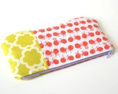 summer clutch in vintage bikes / summer fashion / bridesmaid / orange and chartreuse / cosmetic bag