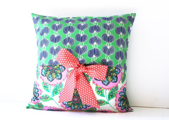 decorative throw pillow cover with bow ties by SassyStitchesbyLori