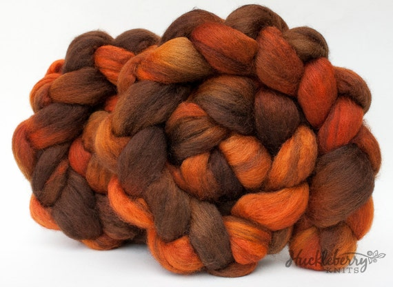 Orange and brown, mixed Blue-Faced Leicester combed top (spinning fiber or roving): BROWNCOAT