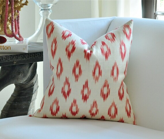 "20"" sq. Schumacher KERALA Ikat pillow cover in Crimson (Coral)"