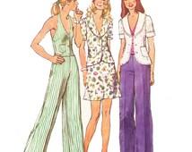 70s Misses Mini Skirt Pattern/ Size 10/ 1970s UNCUT Simplicity Misses Unlined Jacket, Halter Vest, Mini Skirt and Pants Sewing Pattern 5689