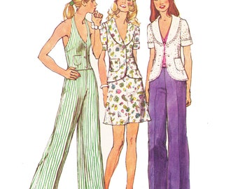 70s Misses Mini Skirt Pattern/ size 8/ 1970s UNCUT Simplicity Misses Unlined Jacket, Halter Vest, Mini Skirt and Pants Sewing Pattern 5689