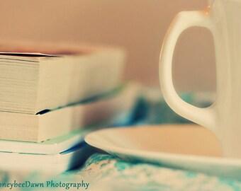 Books and Tea Print Still Life Fine Art Photography Romantic Cottage Decor Teal Cream