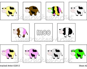 INSTANT Download / Colorful Cows one inch Square DIGITAL Images Collage Sheet No. 272B