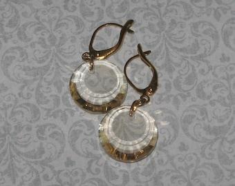 SALE!!!  Golden Crystal Earrings