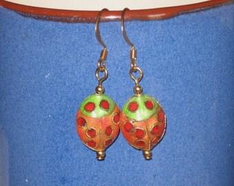SALE!!!   Cloisonné Ladybug Earrings
