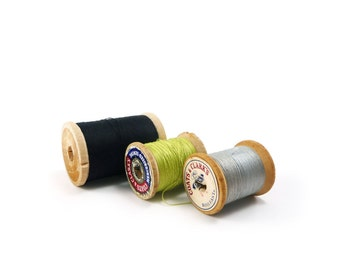 Wooden spools of thread - black, silver gray, chartreuse lime green