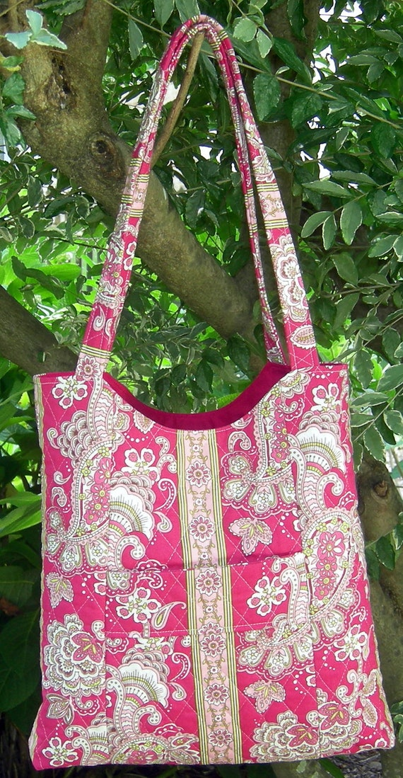 Pink and Green Floral and Vertical Striped Tote with Matching Pocket Tissue Holder