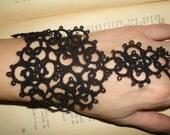 Tatting (Frivolite) Slave Bracelet - Tatted Black Lace Bracelet