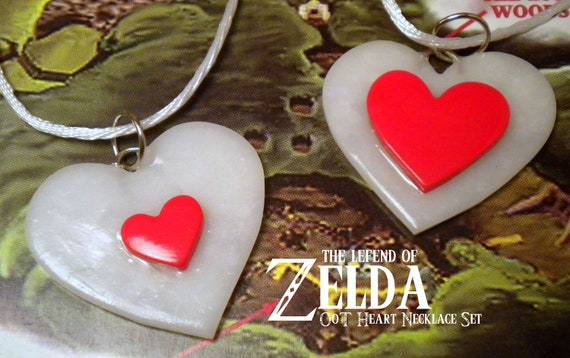 Ocarina of Time Heart Container Friendship Necklace Set - Legend of Zelda