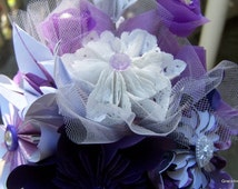 Origami Bouquet Lavender and Lace Everlasting Flowers Set of 6 Origami Flowers