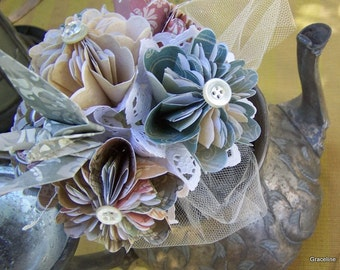 Origami Nosegay Toss Bouquet 6 Flowers With Soft Forest Ombre Hues Customized