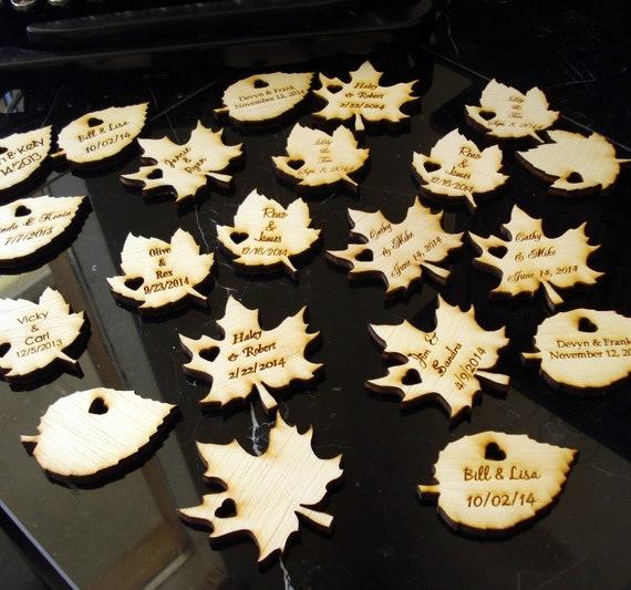 Wood Leaf Wedding Favors Personalized Set of 20