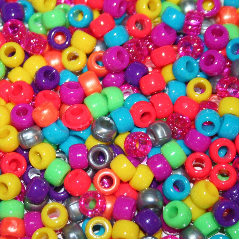 1000 kellymix plastic pony beads kandi rave