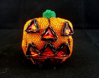 Pattern/Tutorial - Beaded Jack-o-lantern