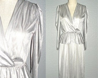 1970s dress SILVER FOX disco glam peplum long sleeved - S