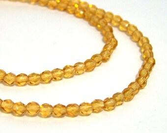 Czech Glass Beads, faceted, 4mm honey yellow, Full Bead Strand (512F)