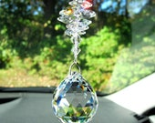 Crystal Ball Suncatcher, Big Rainbow Maker Ornament with Swarovski Crystal Octagons, Pearl Place N More