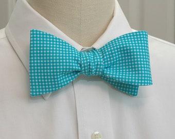 Men's Bow Tie in turquoise mini gingham (self-tie)