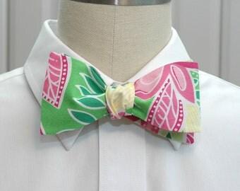Men's Bow Tie, pink green Lilly Summer Fling, wedding bow tie, groom bow tie, preppy bow tie, prom bow tie, groomsmen gift, self tie bowtie