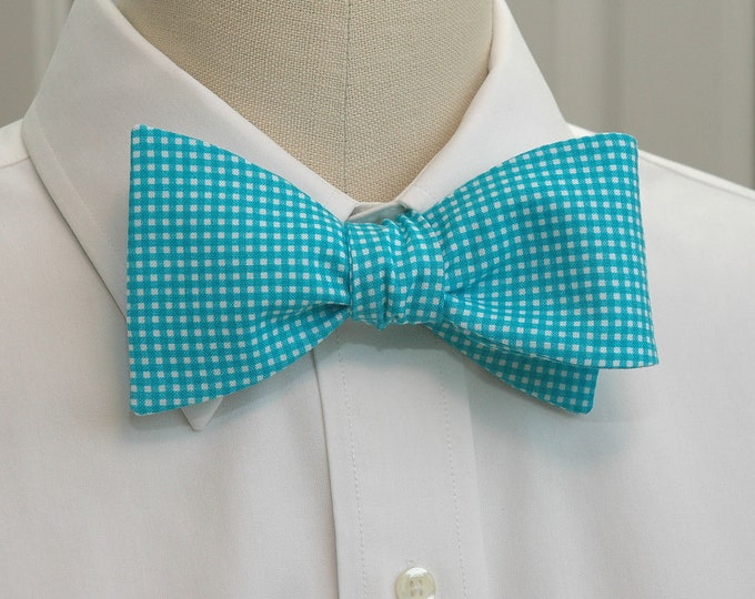 Men's Bow Tie,  turquoise mini gingham bow tie, turquoise bow tie, wedding bow tie, groom bow tie, groomsmen gift, Caribbean blue bow tie