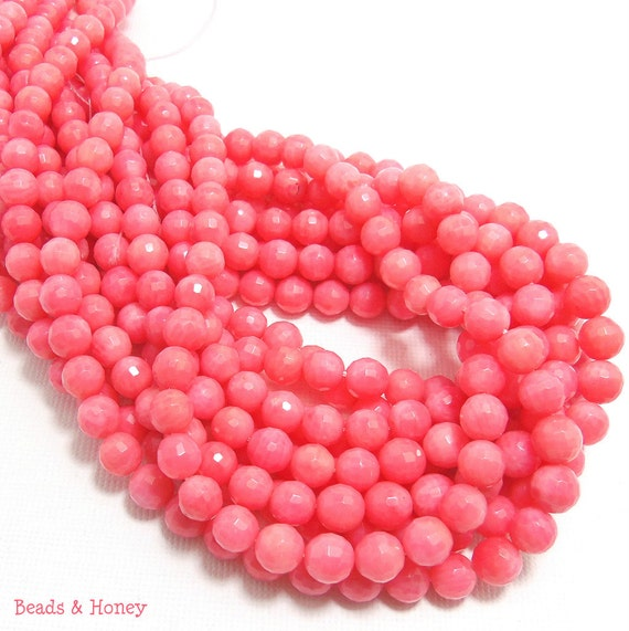 Pink Bamboo Coral Beads, Round, Faceted, High Quality, 6-7mm, Small, Full Strand, 61pcs - ID 1073