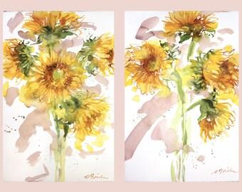 Diptych No.9 flowers, original watercolor