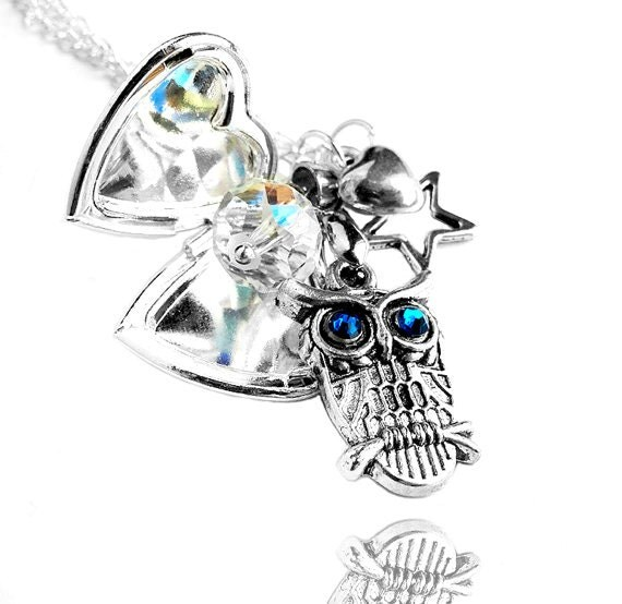 Happy Valentine Day Sale - Swarovski Clear Crystal Heart Star Silver Heart Picture Locket Owl Charm Necklace (Get 12% OFF with COUPON CODE)