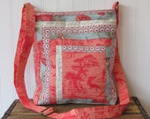 Coral and blue messenger bag