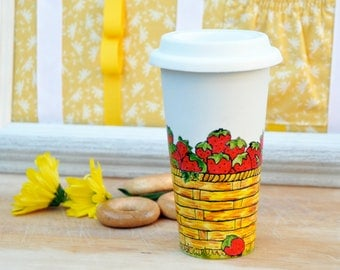 Ripe Strawberries Coffee Travel Mug - Made to Order Hand Painted Ceramic Eco Cup with Lid - Coffee Thermos