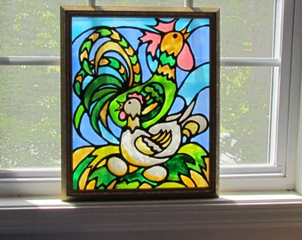 Pattern, Chicken, Rooster, Hen, Stained Glass, black and white pattern, suncatcher, decoration, painting, wall art
