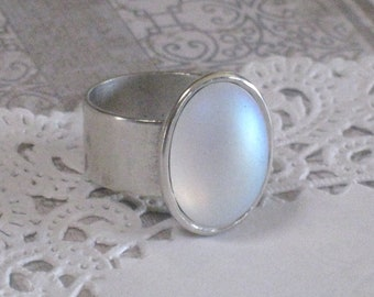 Opal Rainbow Ring - Silver Adjustable Antique Silver Plated Patera Band
