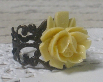 Romantic Yellow Rose Ring - Antiqued Brass Adjustable Filigree Band
