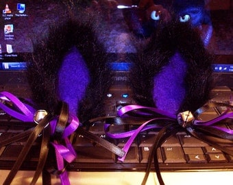 Black and Purple Fuzzy Cat Ear Clips with Bow and Bell Earrings